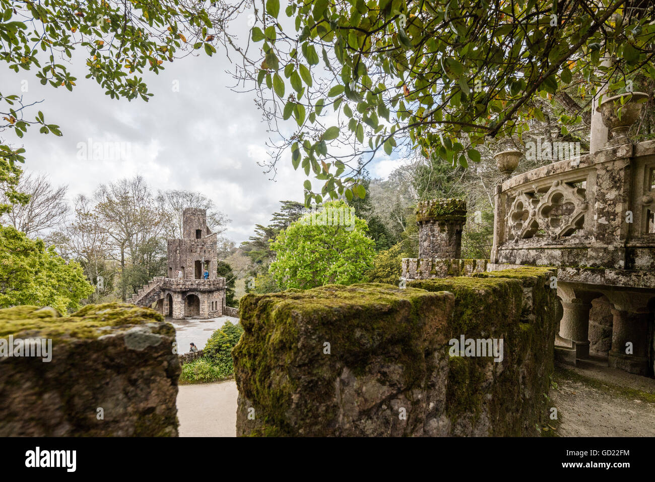 Mystical constructions of Romanesque Gothic and Renaissance style inside the park Quinta da Regaleira, Sintra, Portugal, - Stock Image