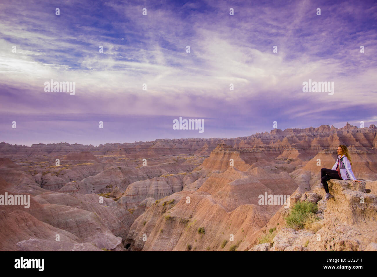 Laura Grier at sunrise at The Badlands, Black Hills, South Dakota, United States of America, North America - Stock Image