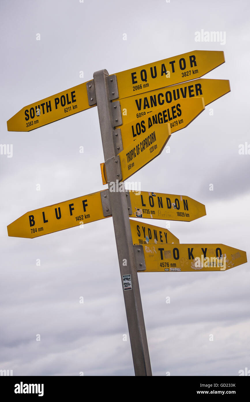 City distances sign at Cape Reinga Lighthouse, Northland, North Island, New Zealand, Pacific - Stock Image