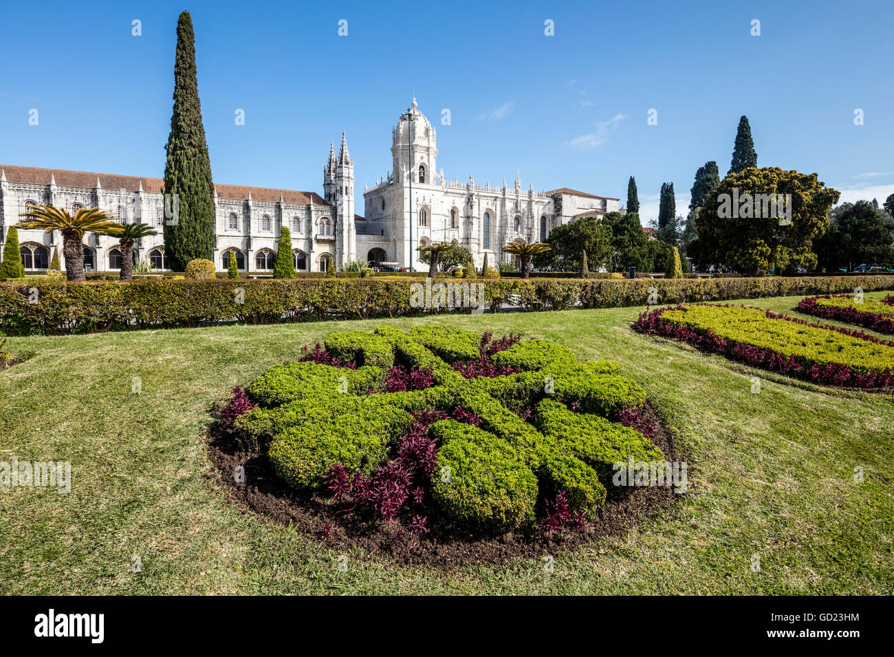 Jeronimos Monastery with late Gothic architecture, UNESCO, surrounded by gardens, Santa Maria de Belem, Lisbon, - Stock Image