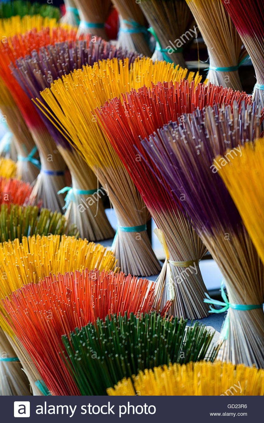 Incense maker, incense sticks drying, Hue, Thua Thien Hue province, Vietnam, Indochina, Southeast Asia, Asia - Stock Image