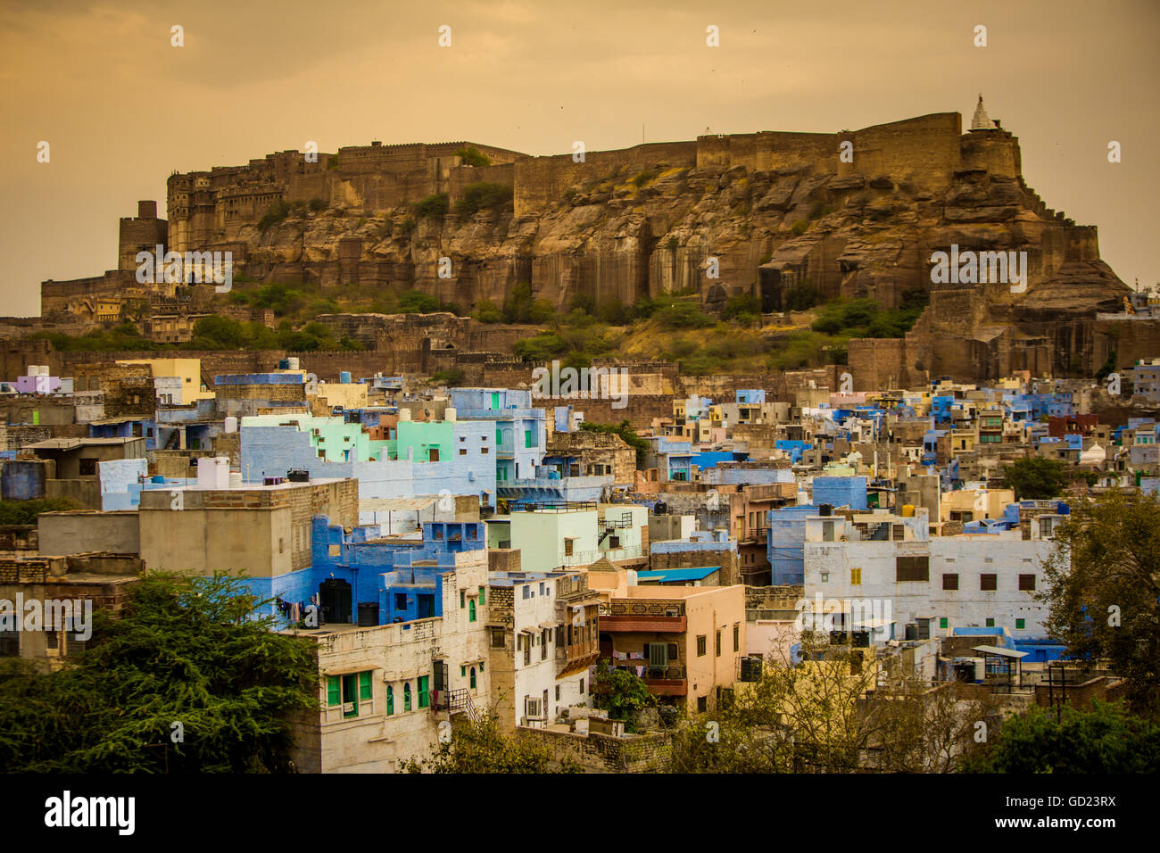 Mehrangarh Fort towering over the blue rooftops in Jodhpur, the Blue City, Rajasthan, India, Asia - Stock Image
