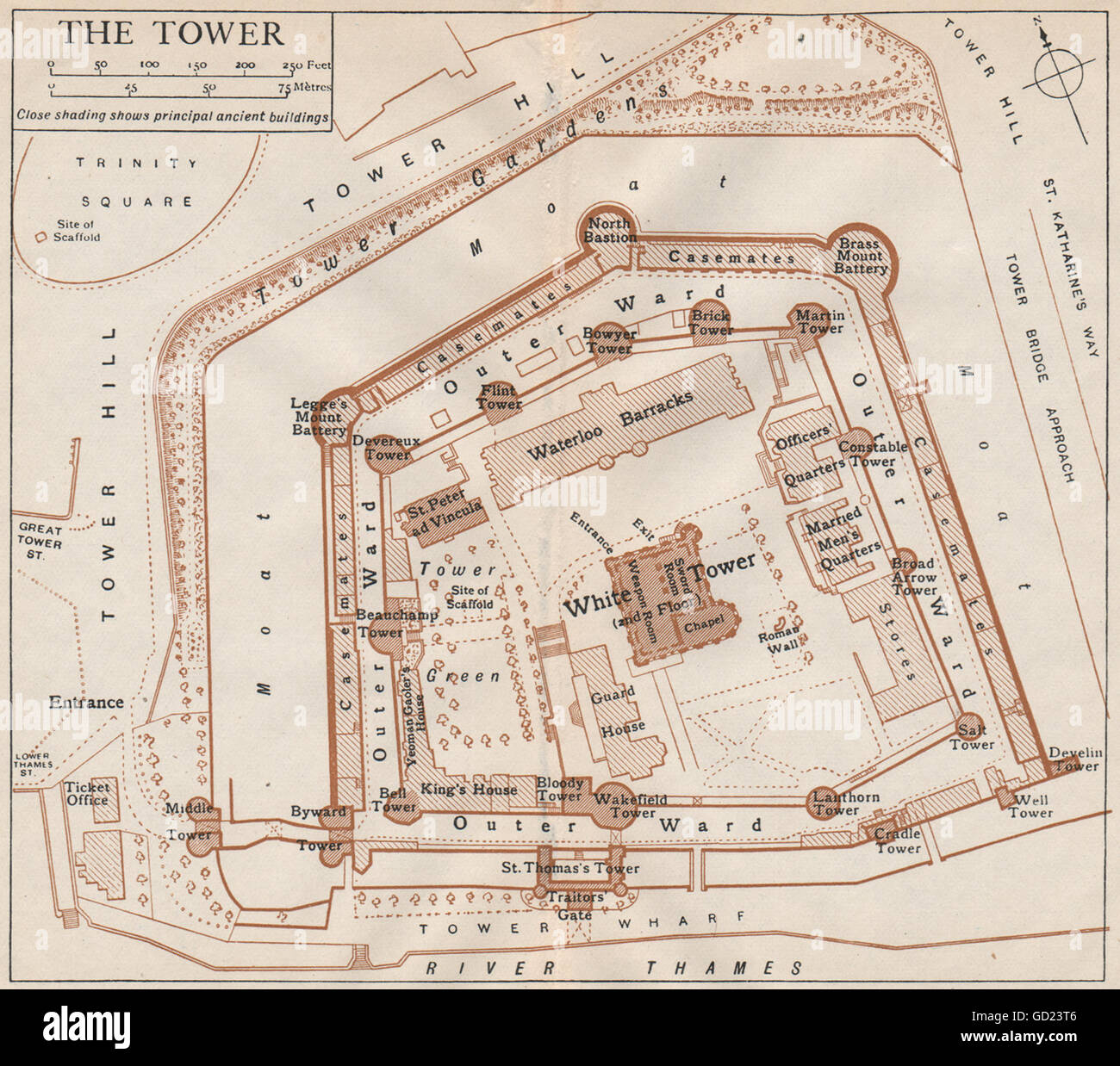 TOWER OF LONDON. Vintage map plan, 1922 Stock Photo: 111299670 - Alamy