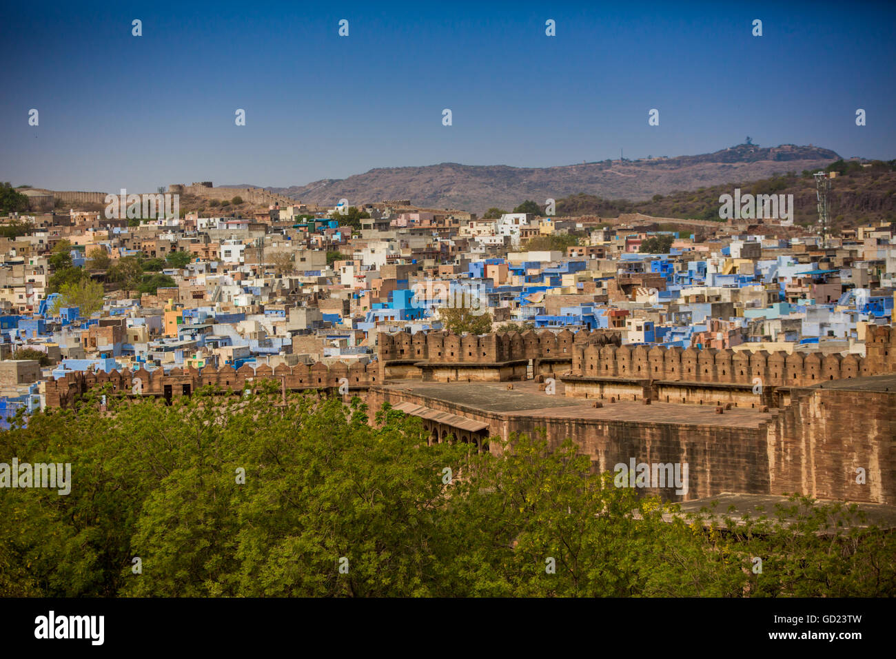 The city wall of Mehrangarh Fort towering over the blue rooftops in Jodhpur, the Blue City, Rajasthan, India, Asia - Stock Image