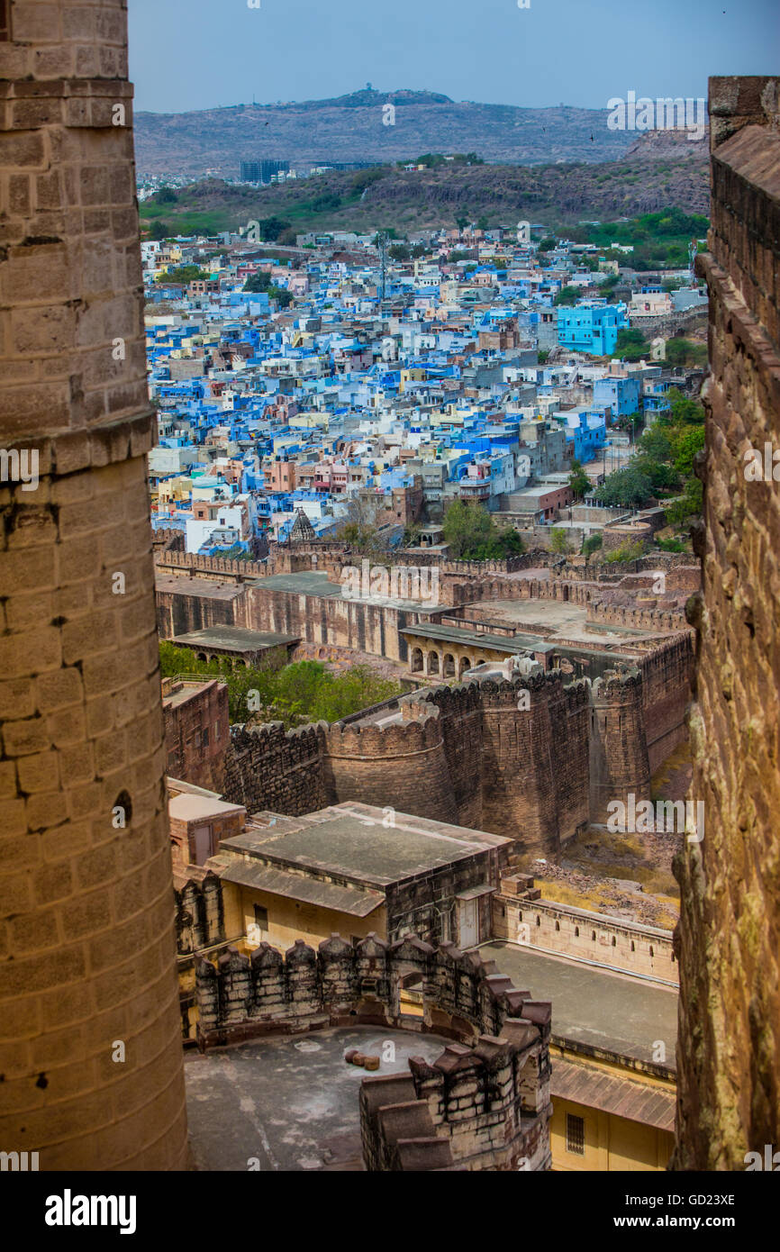 The view from Mehrangarh Fort of the blue rooftops in Jodhpur, the Blue City, Rajasthan, India, Asia - Stock Image
