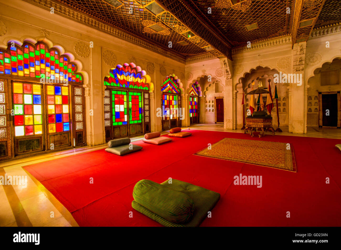 The Maharaja's sitting room in Mehrangarh Fort in Jodhpur, the Blue City, Rajasthan, India, Asia - Stock Image