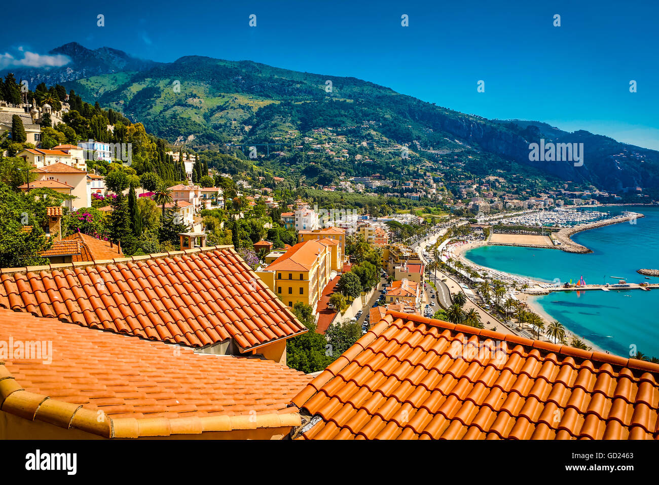 City view of medieval Menton, Alpes-Maritimes, Cote d'Azur, Provence, French Riviera, France, Mediterranean, - Stock Image