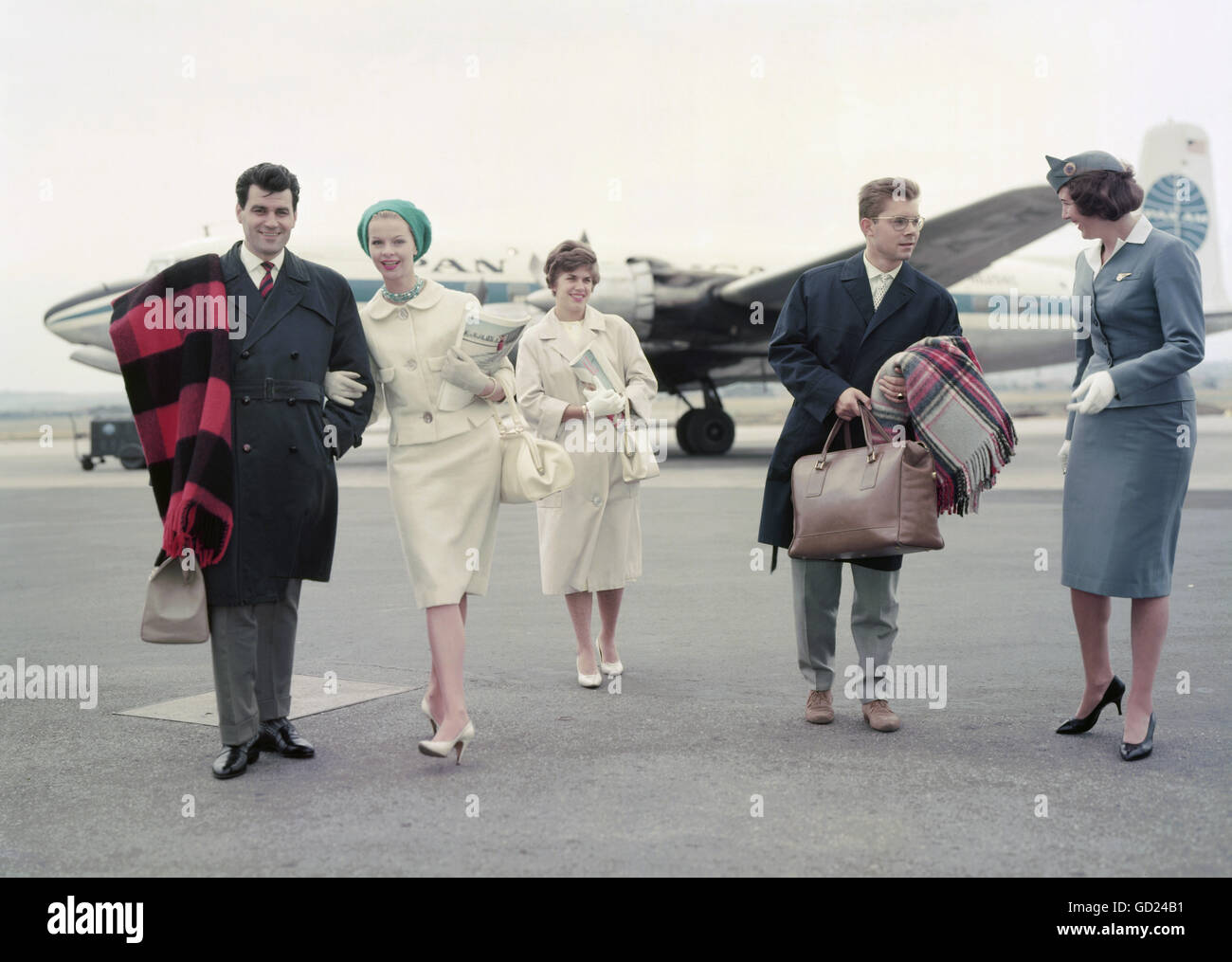 transport / transportation, aviation, passengers with stewardess outside of a PANAM airplane on airfield, Stuttgart - Stock Image