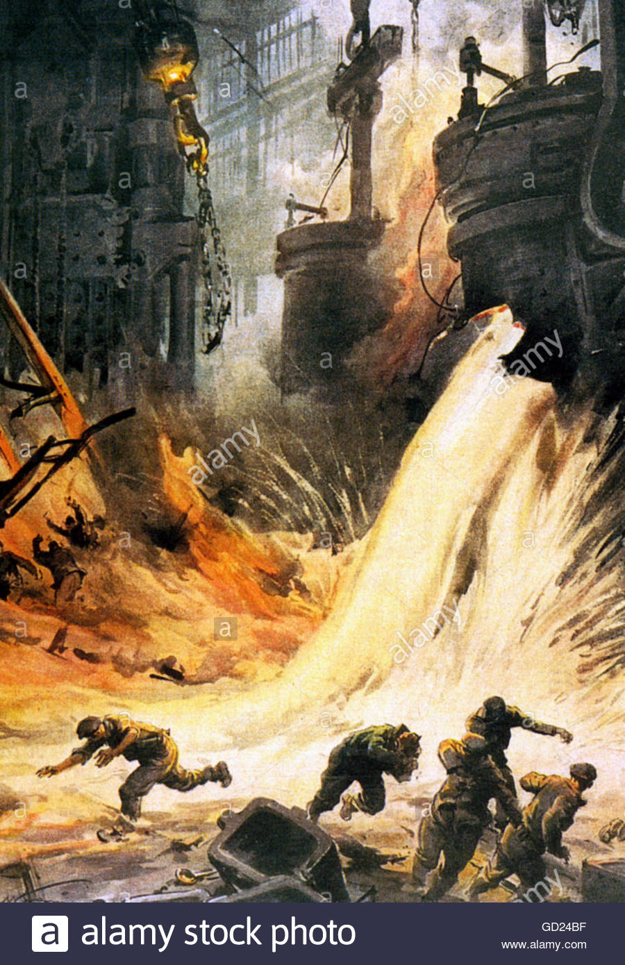 events, Second World War / WWII, aerial warfare, Italian air raid on a British foundry, Italian illustration, 1940, - Stock Image
