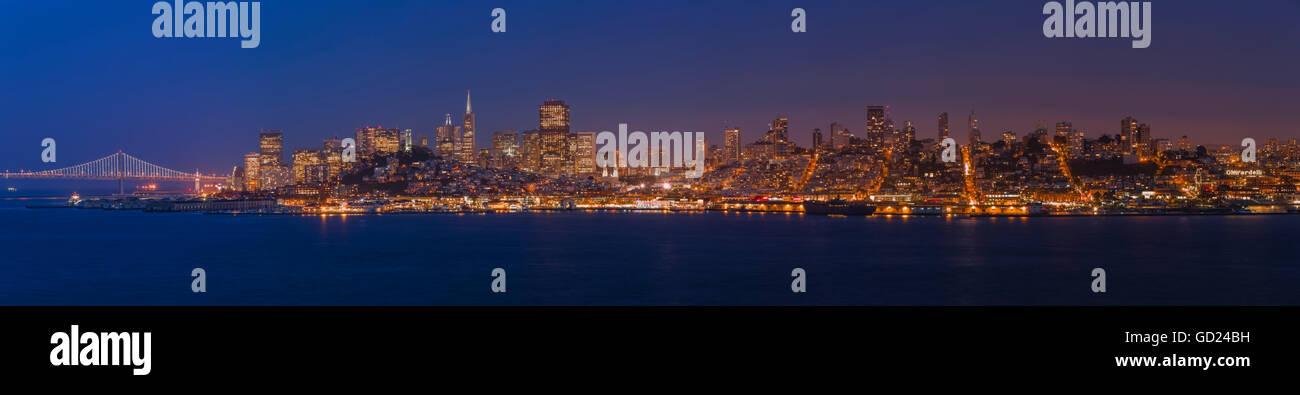 San Francisco skyline panorama at dusk taken from Alcatraz Island, California, United States of America, North America - Stock Image