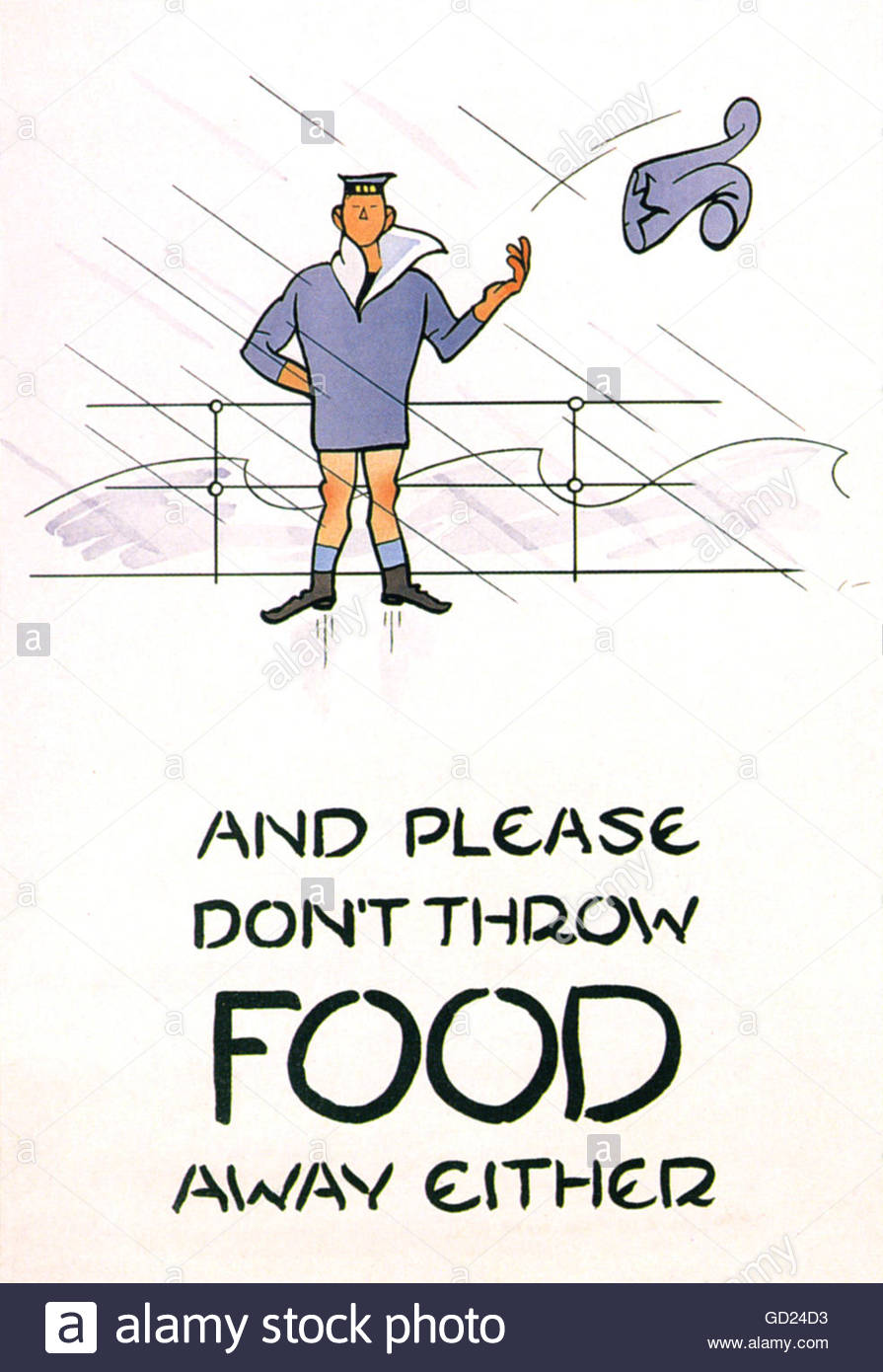 events, Second World War / WWII, propaganda, Great Britain, poster, 'And please don't throw food away either', - Stock Image
