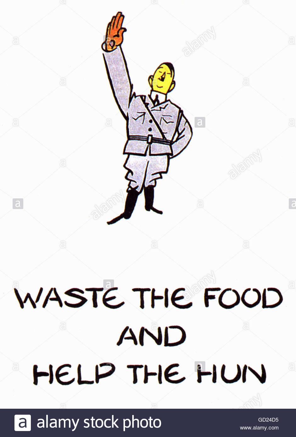 events, Second World War / WWII, propaganda, Great Britain, poster, 'Waste the food and help the hun', circa - Stock Image