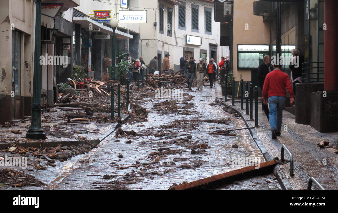 catastrophe, natural disaster, flood, River-flood disaster, Funchal, Madeira, Portugal, 20.2.2010, Additional-Rights - Stock Image
