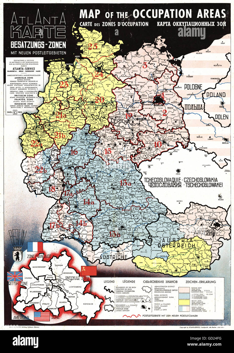 cartography maps germany and austria allied zones of occupation and german postal codes atlantic service frankfurt am main 1945