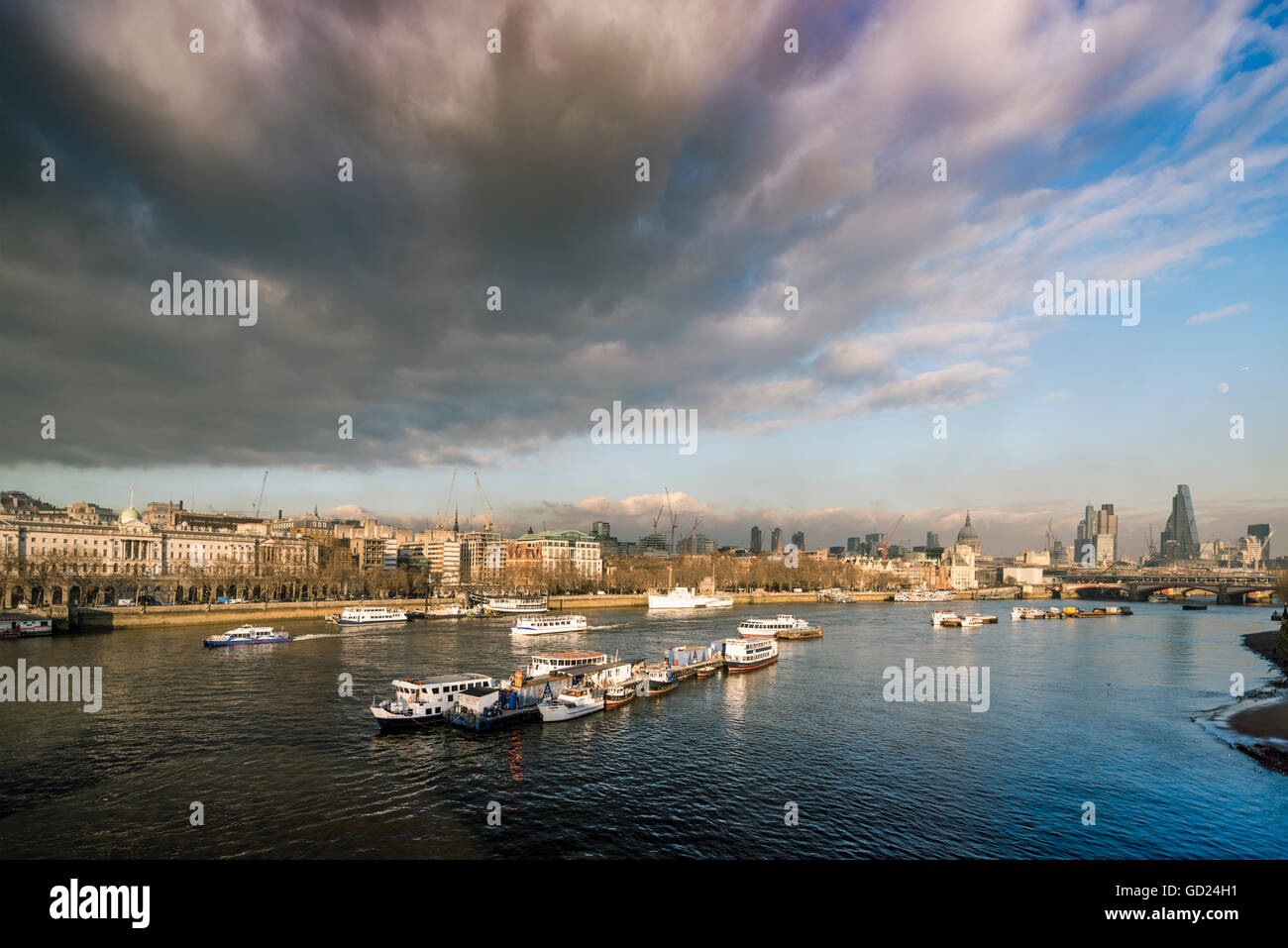 The River Thames looking North East from Waterloo Bridge, London, England, United Kingdom, Europe - Stock Image