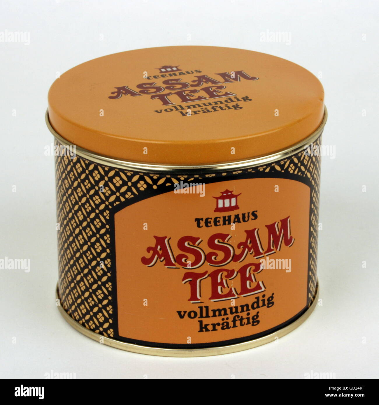 tea, tea sales box, tinplate Tea House Assam Tea, offset printing, made by VEB Kaffee und Tee Radebeul, East-Germany, - Stock Image