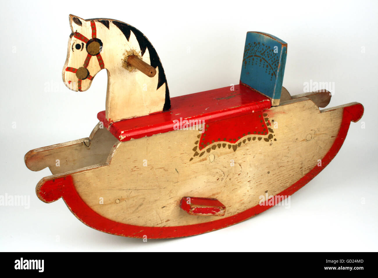 toys, rocking horse, wooden, paint, East-Germany, 1950s, , Additional-Rights-Clearences-NA - Stock Image