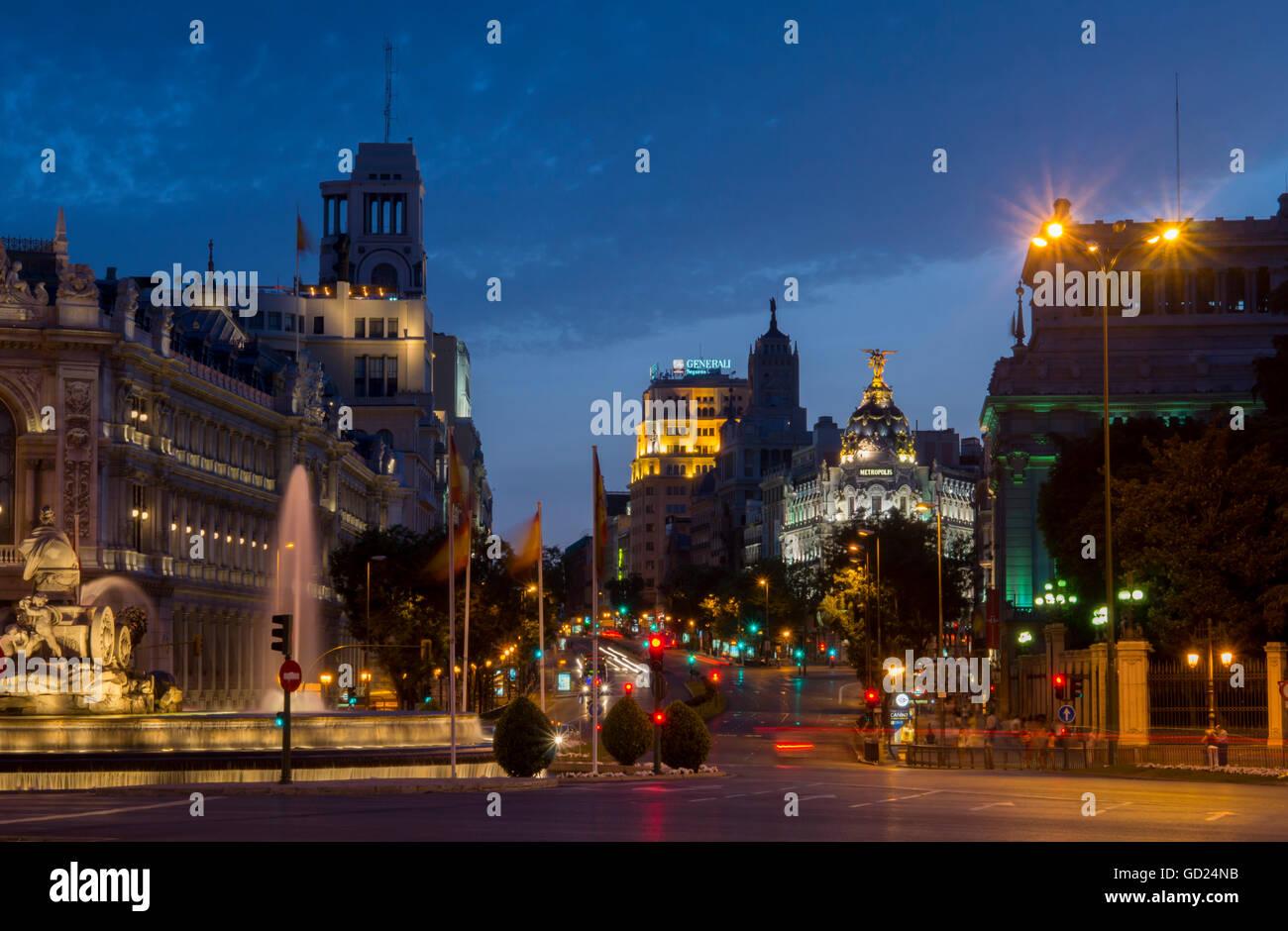 Calle de Alcala, Plaza de Cibeles, Madrid, Spain, Europe - Stock Image