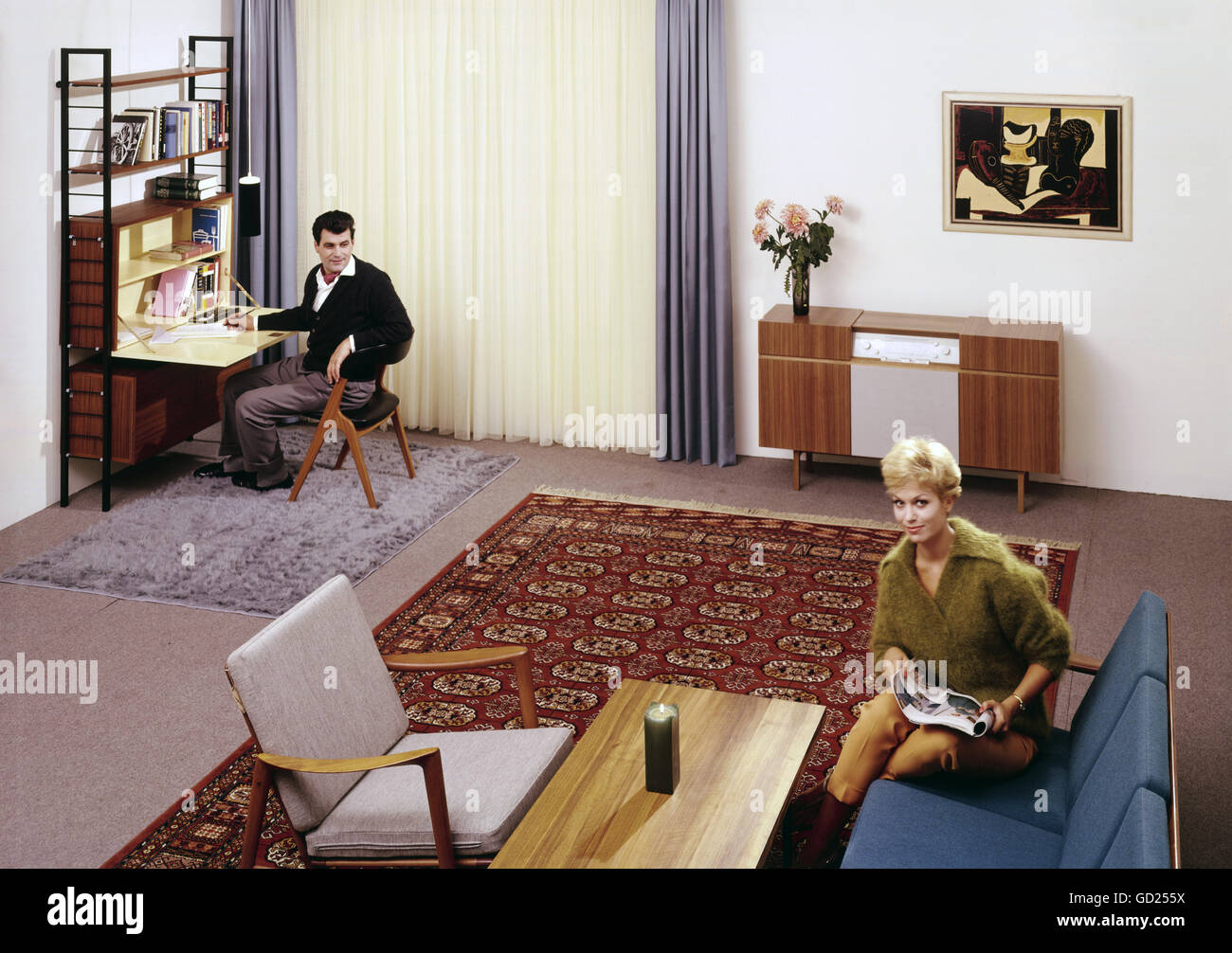 furnishings, living-room, circa 1960, Additional-Rights-Clearences-NA - Stock Image