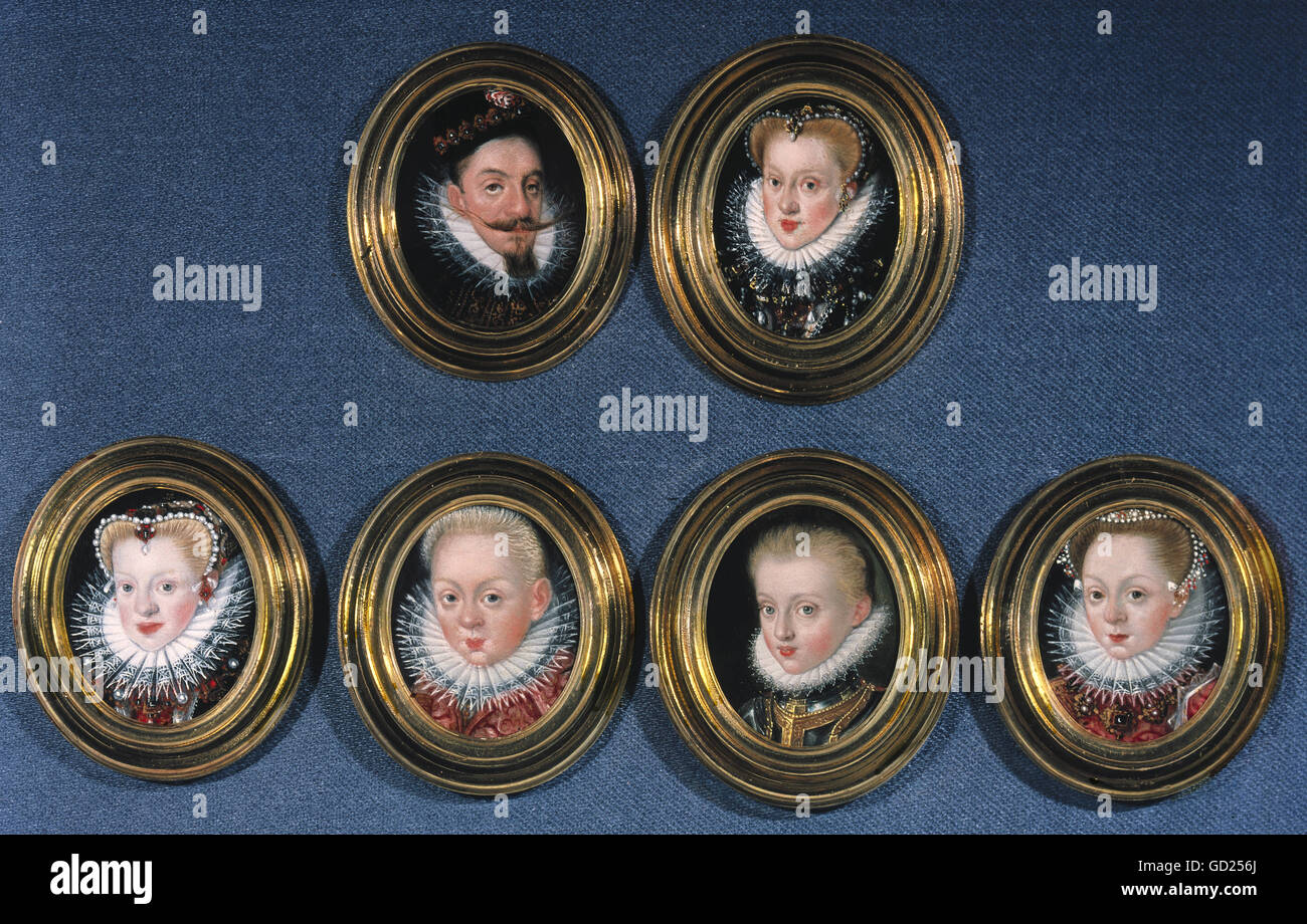 fine arts, painting, miniature, portraits of a noble family, early 17th century, Bavarian National Museum, Munich, - Stock Image
