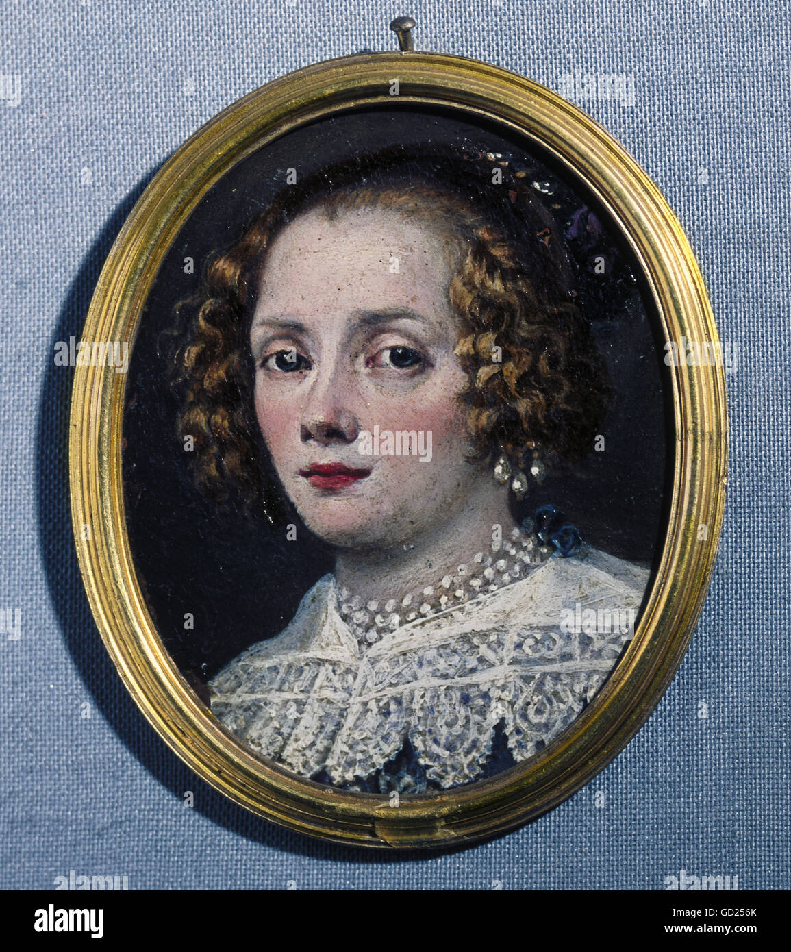 fine arts, painting, miniature, portraits of a unknown young lady, circa 1630/1640, Bavarian National Museum, Munich, - Stock Image