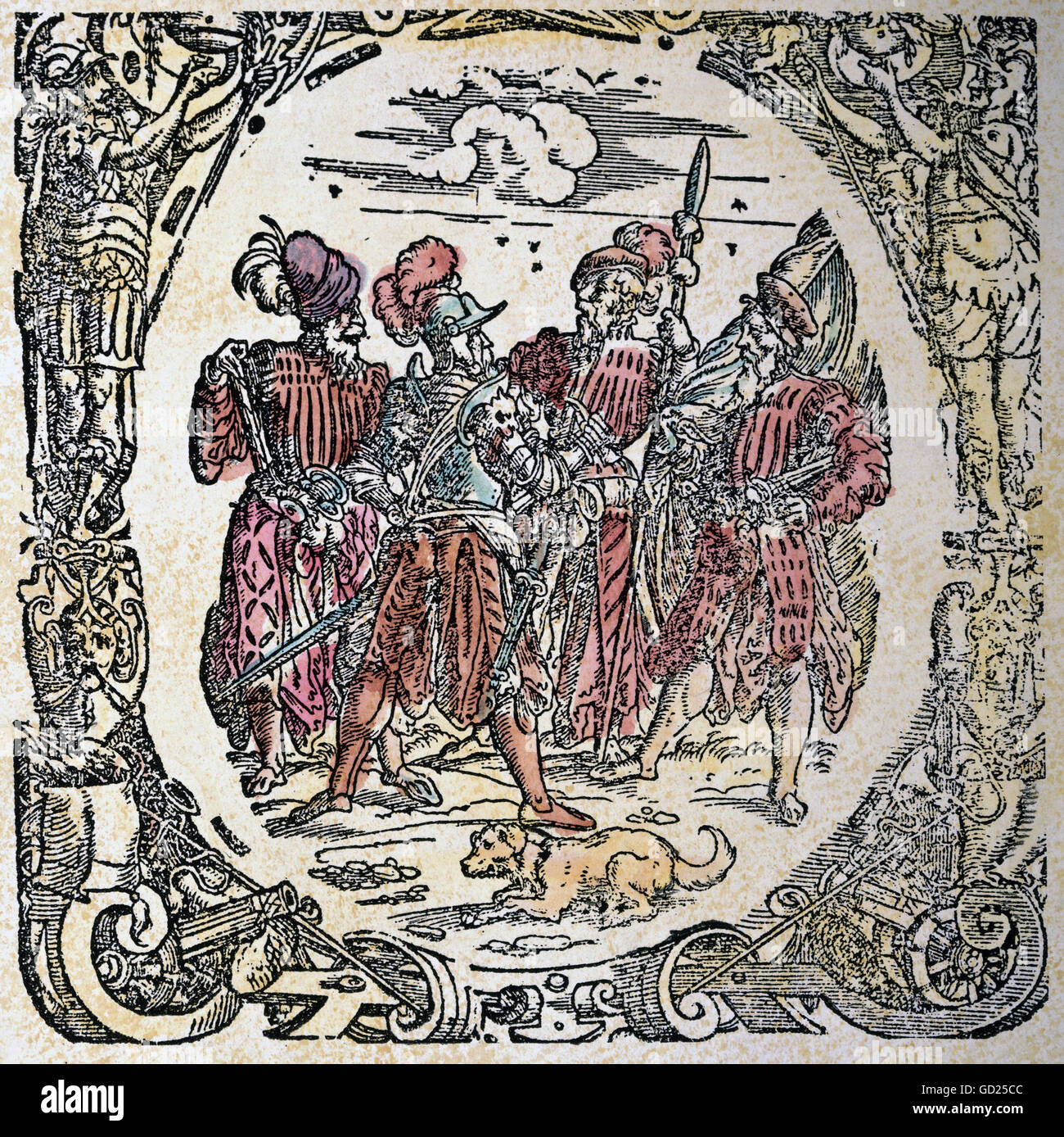 military, Landsknechts, four Landsknecht leaders, coloured woodcut, 'Kaiserliches Kriegsrecht' by Leonhard - Stock Image