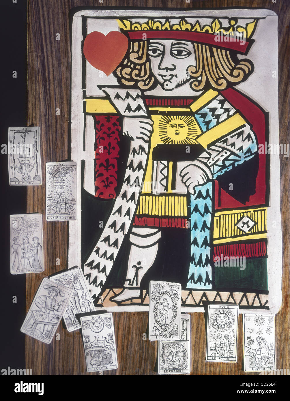 games, card game, playing card Heart King, template draft, French face card, 16th century, unpainted Italian tarot - Stock Image