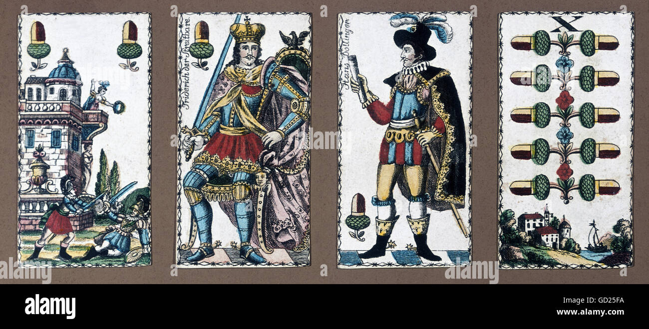 Games Card Game 4 Playing Cards Lithograph Coloured Southern Germany Circa 1820 Bavarian National Museum Munich