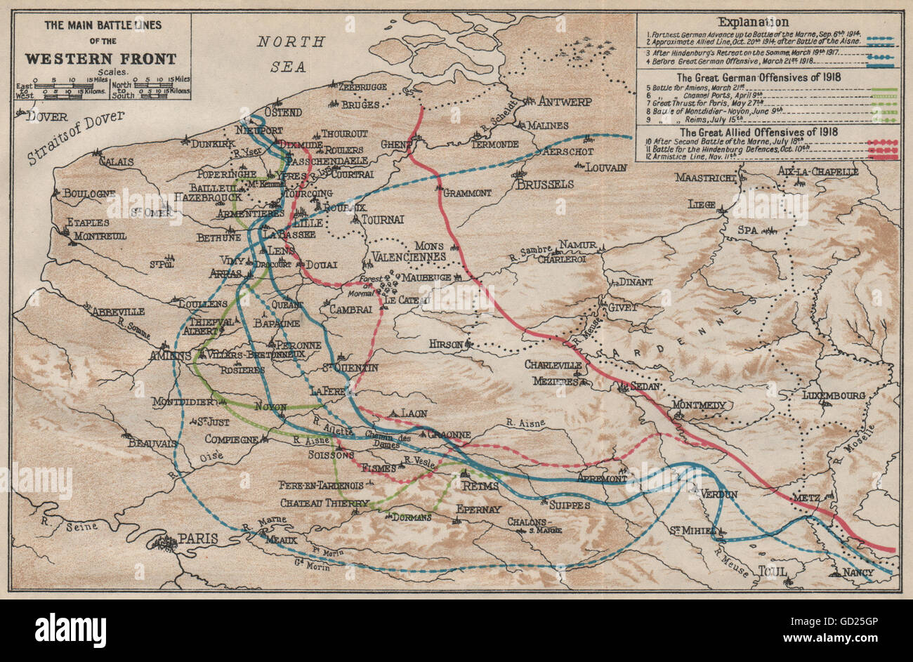 WESTERN FRONT MAIN BATTLE LINES. Vintage map. WW1 First World War. Flanders 1922 - Stock Image