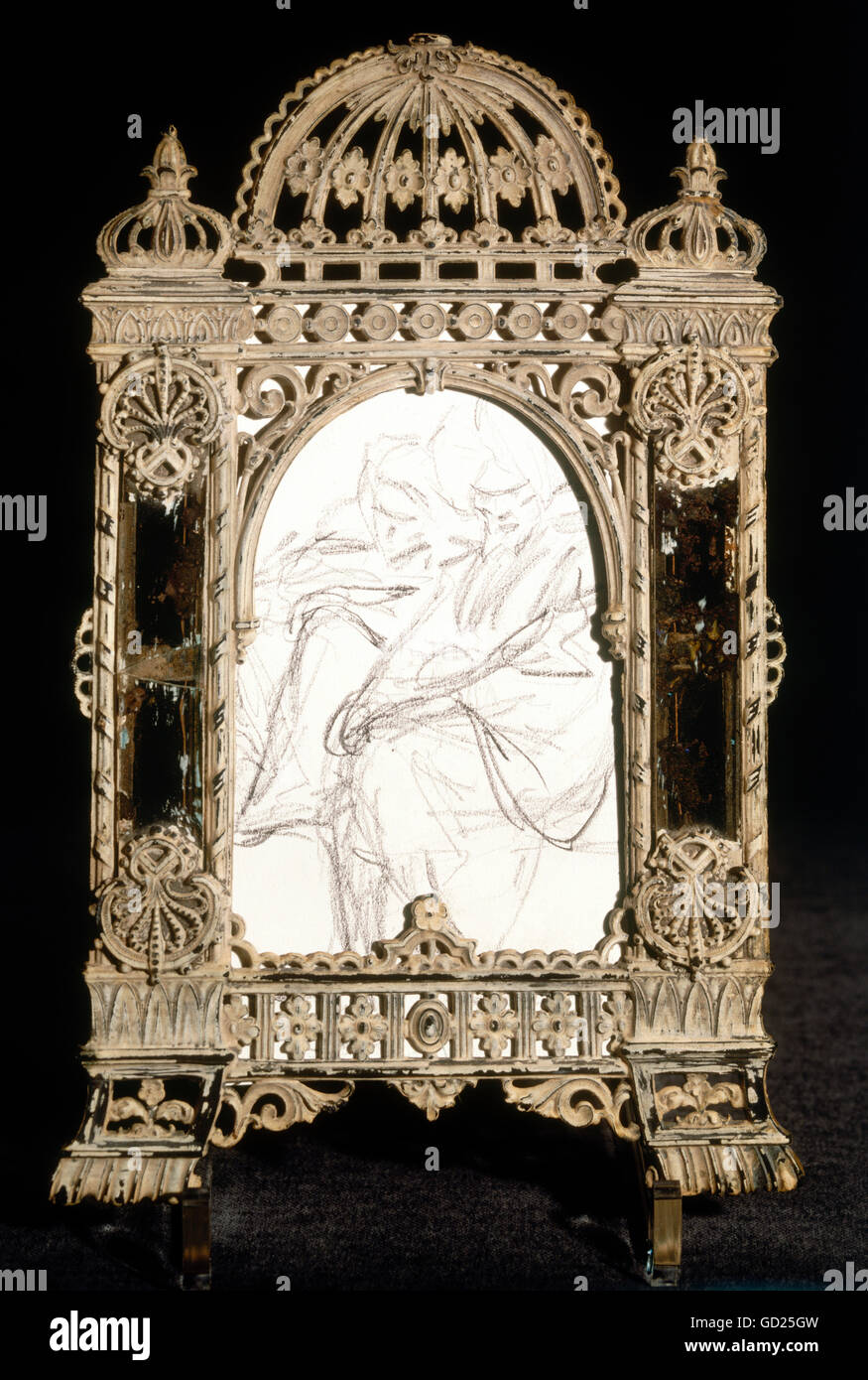 fine arts, Spitzweg, Carl, (1808-1885), sketch of a Turkish man, pencil drawing, small tin frame with mirror inset, Stock Photo