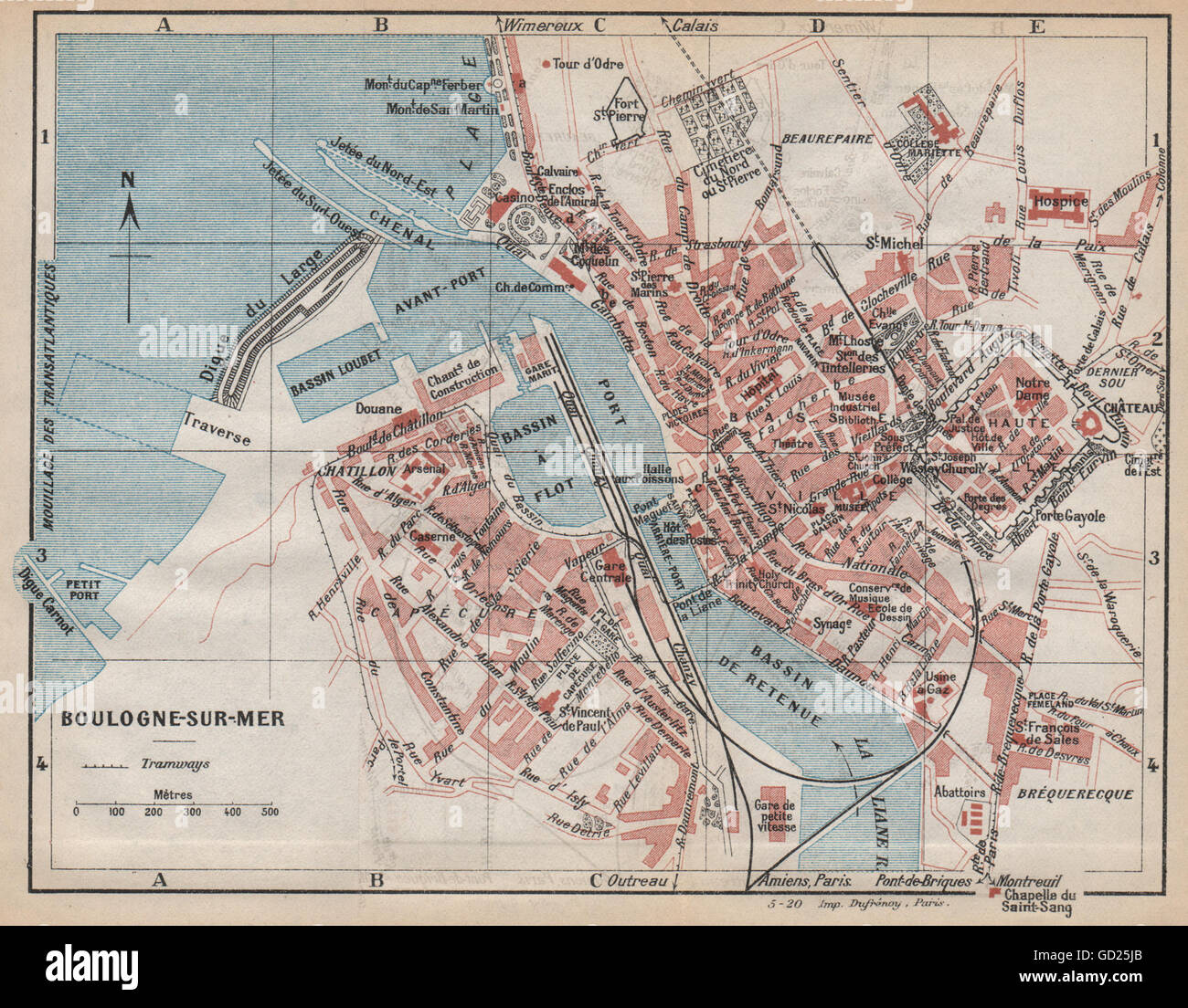 BOULOGNE-SUR-MER. Vintage town city ville map plan carte Stock Photo - Alamy