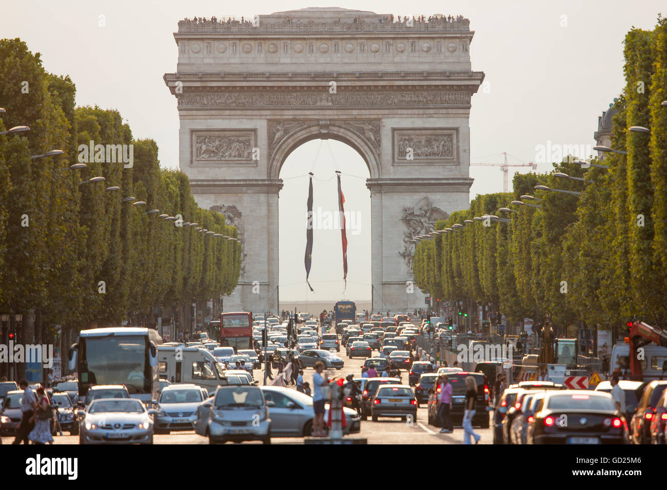Champs Elysees and Arc de Triomphe, Paris, France, Europe - Stock Image