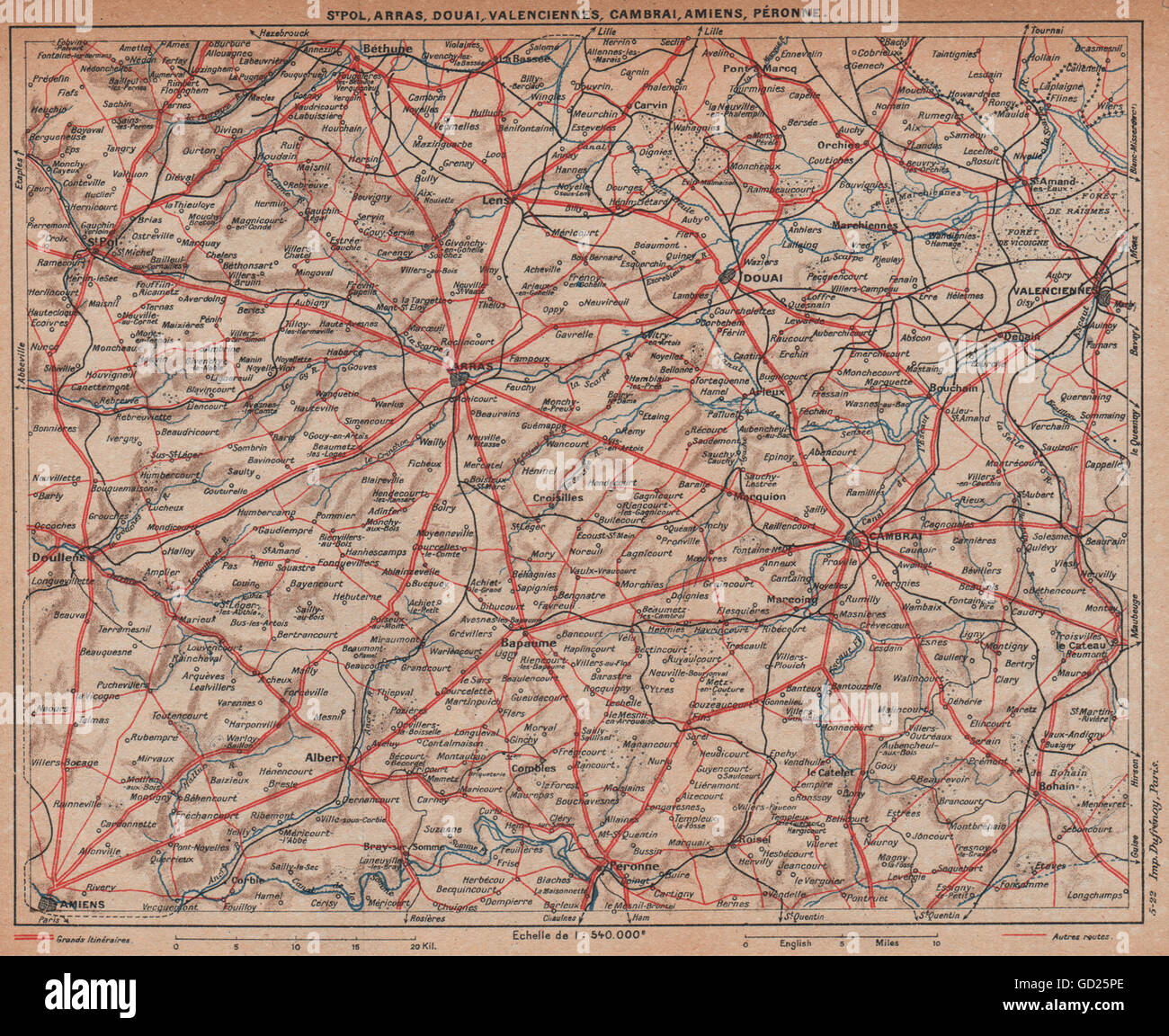 PICARDY NORD-PAS-DE-CALAIS. Arras Cambrai Douai Amiens Valenciennes, 1922 map Stock Photo