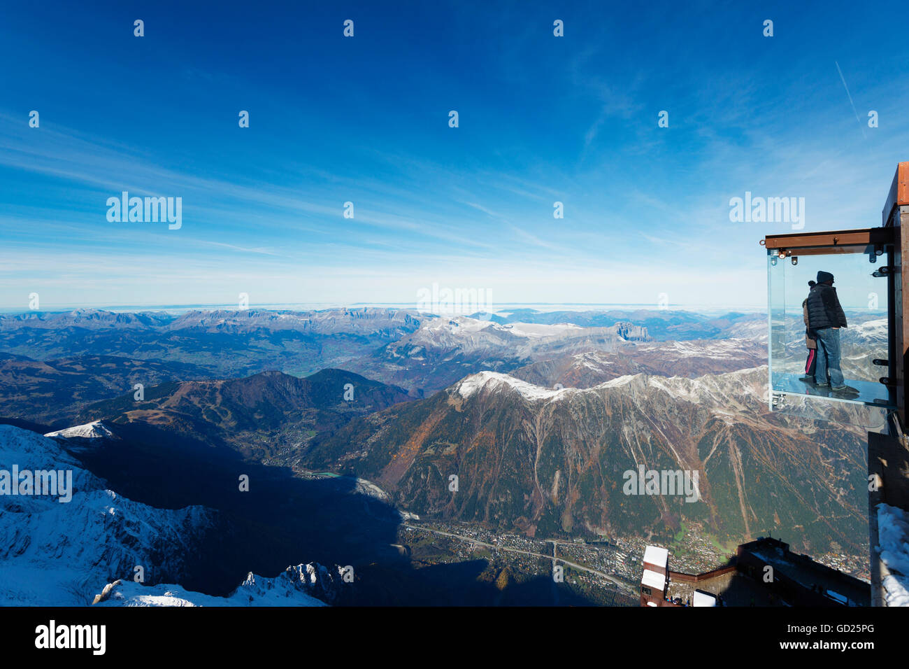 Into the Void viewing platform on Aiguille du Midi, Chamonix, Rhone Alpes, Haute Savoie, French Alps, France, Europe - Stock Image