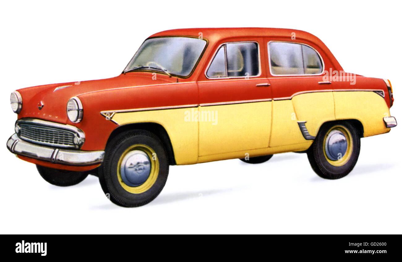 transport / transportation, car, vehicle variants, small car Moskvitch 407, four-seater, Soviet car maker MZMA, - Stock Image