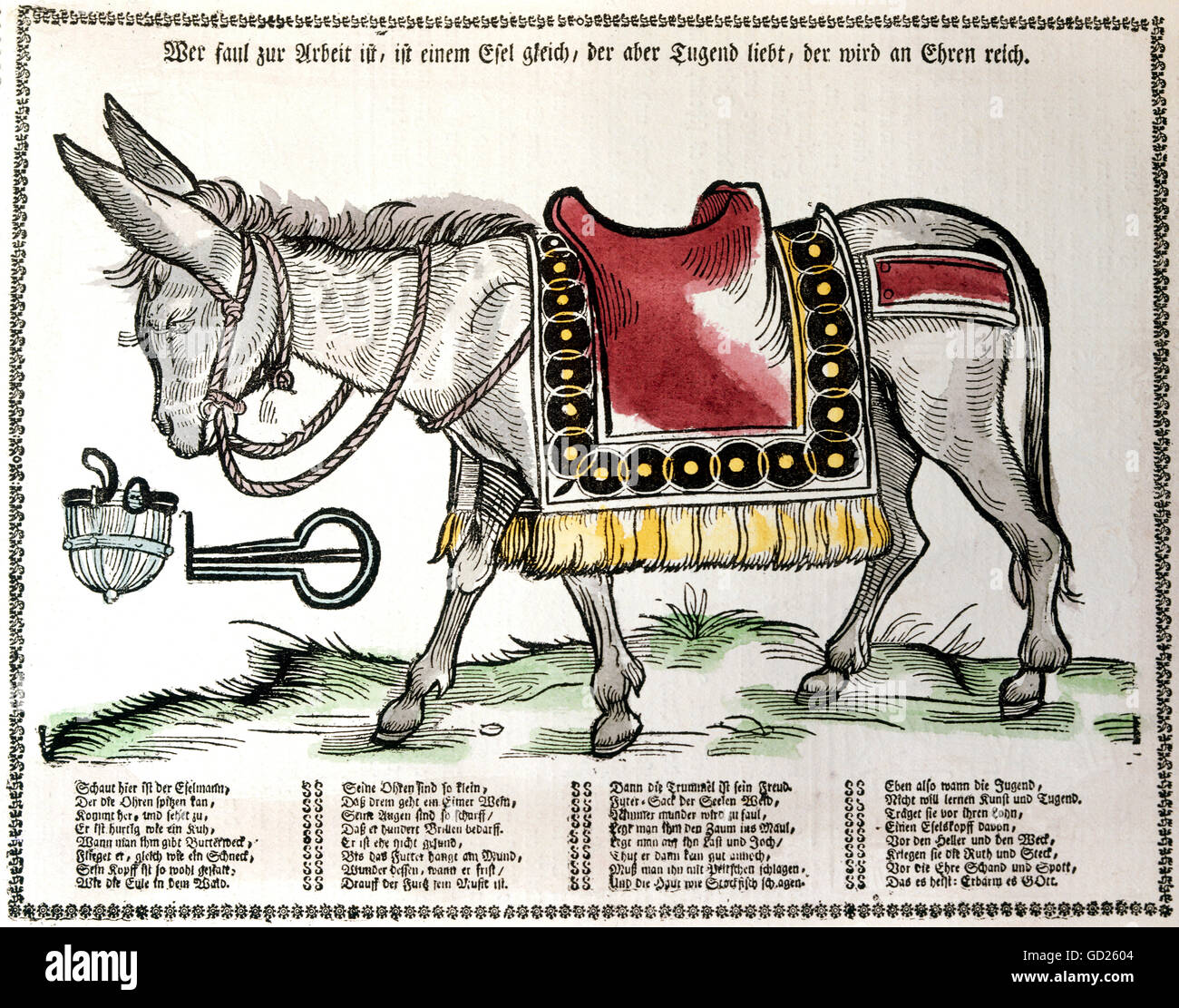 education, educational material, didactical pictorial broadsheet with the caricature of a donkey as warning for - Stock Image