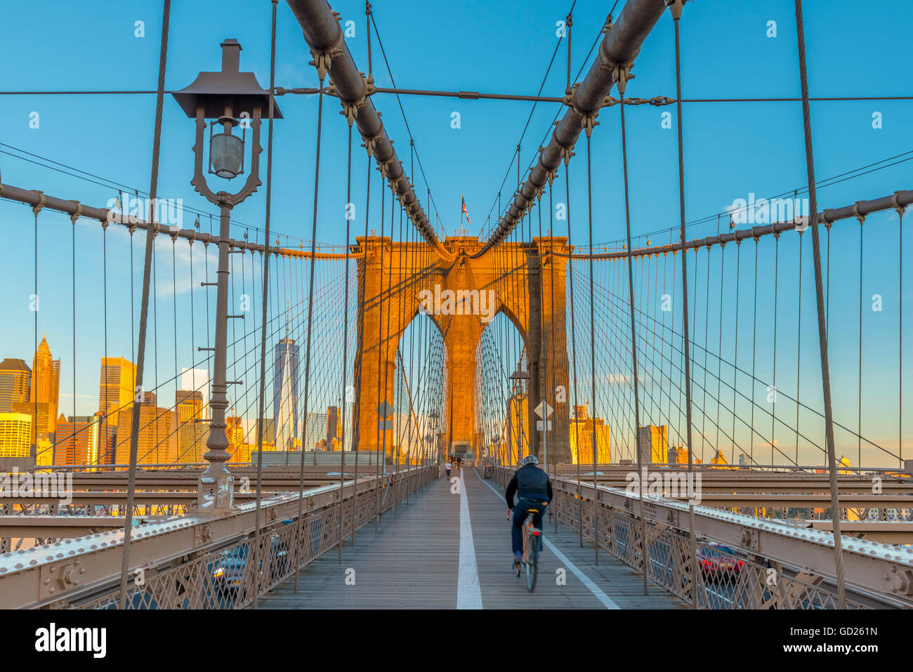 Manhattan, Brooklyn Bridge over East River, Lower Manhattan skyline, inc Freedom Tower of World Trade Center, New - Stock Image