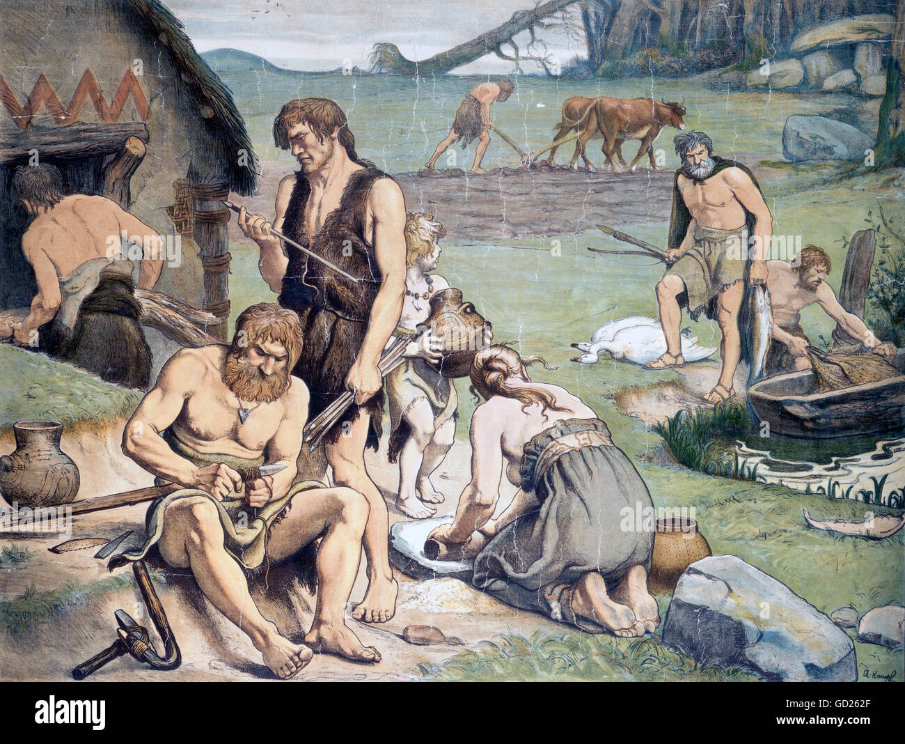 prehistory, people/prehistoric men, settlement in the neolithic, young stone age, after painting by Arthur Kampf, - Stock Image