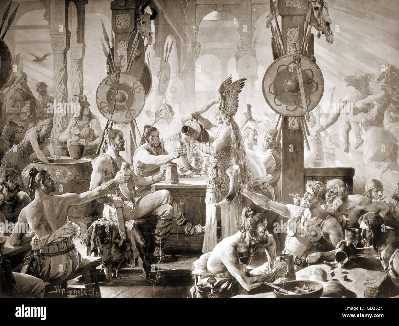 ancient world, Germanics, drinking bout, after painting by Johannes Gehrts, grisaille lithograph, 53 x 71 cm, F. - Stock Image