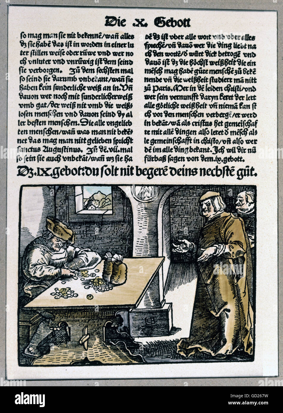 money, money changer and profiteer, coloured woodcut by Hans Baldung Grien, 'Die zehen gebot erclert und usgelegt', - Stock Image