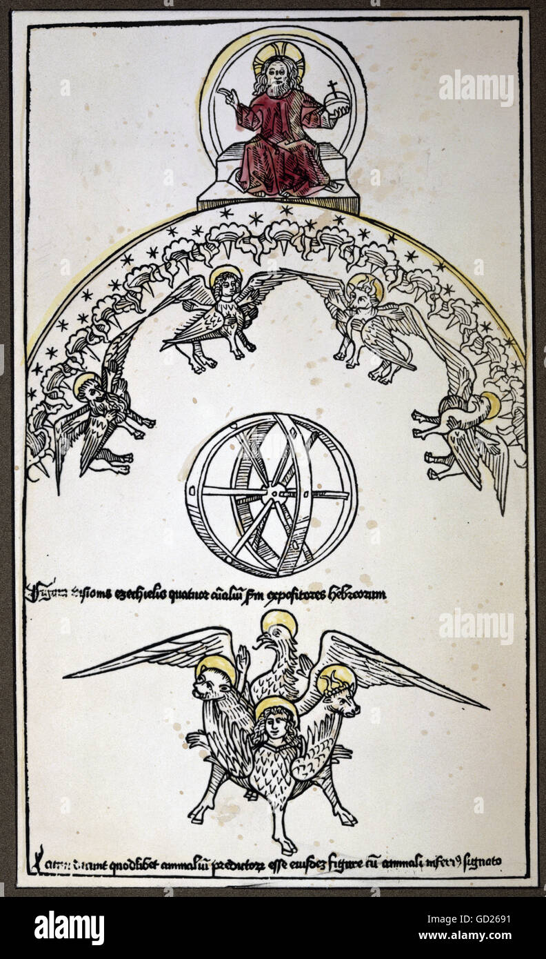 religion, biblical scenes, God, the superbness of the Lord in the vision of the prophet Ezekiel, coloured woodcut, - Stock Image