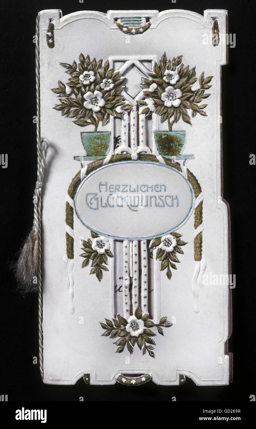 festivity, greeting cards, 'Herzlichen Glueckwunsch' (Congratulations!), chromolithograph, embossed, circa - Stock Image