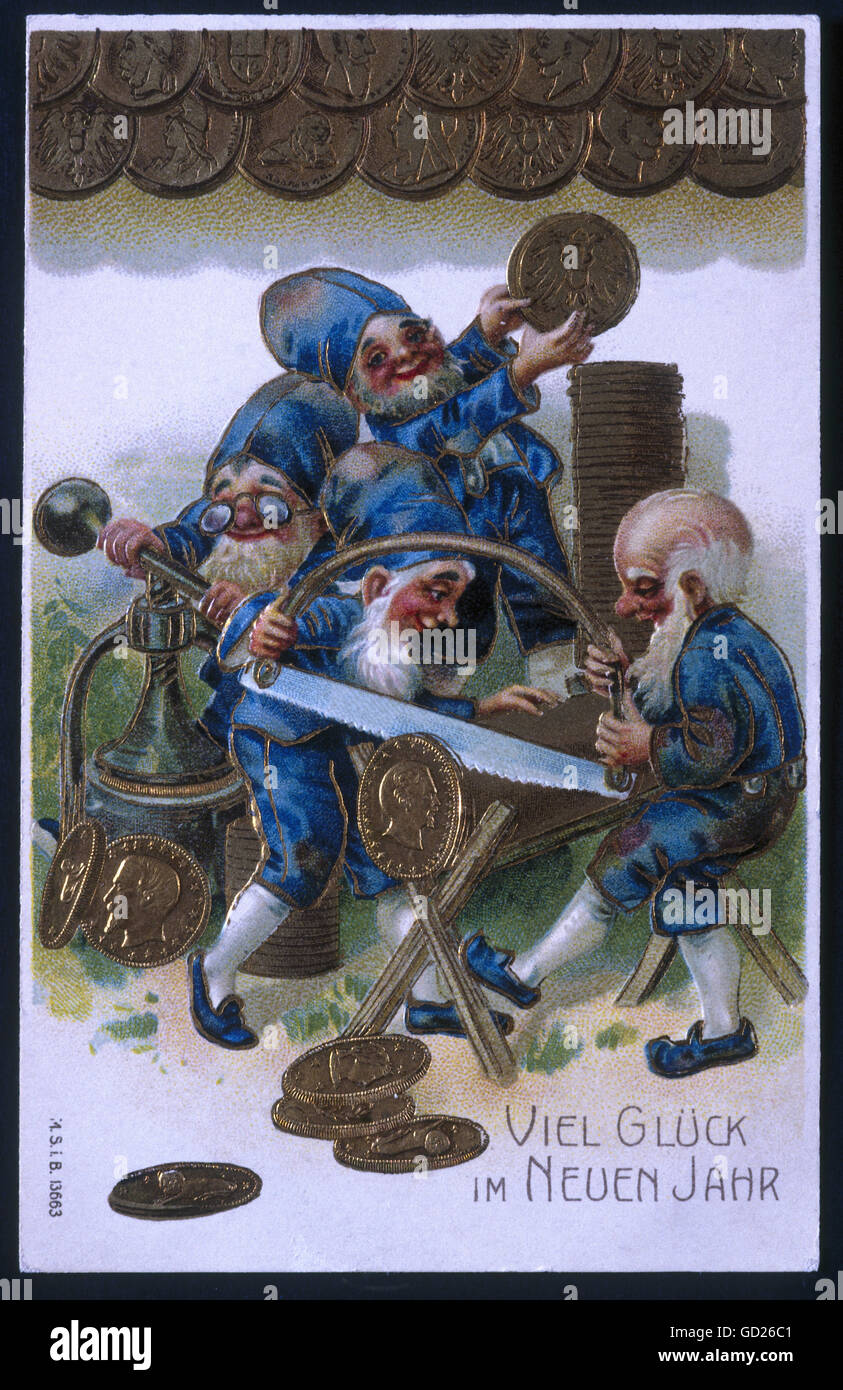 festivity, New Year's Eve and New Year's Day, greeting card with minting dwarfs, 'Viel Glueck im Neuen - Stock Image