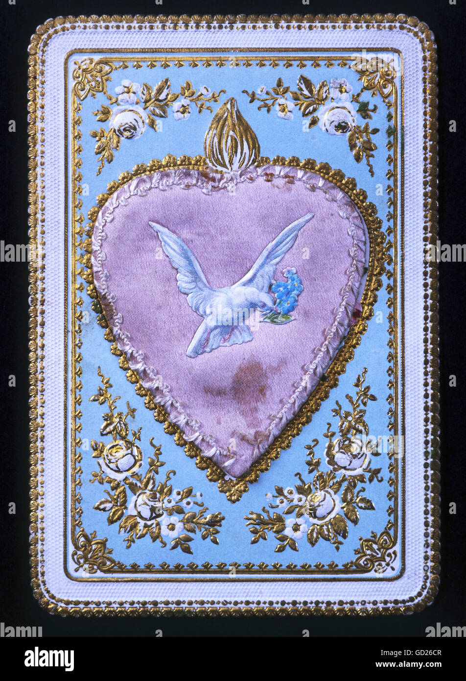 festivity, greeting cards, greetings card, dove with forget-me-not on a heart, chromolithograph , embossed, pierced, - Stock Image