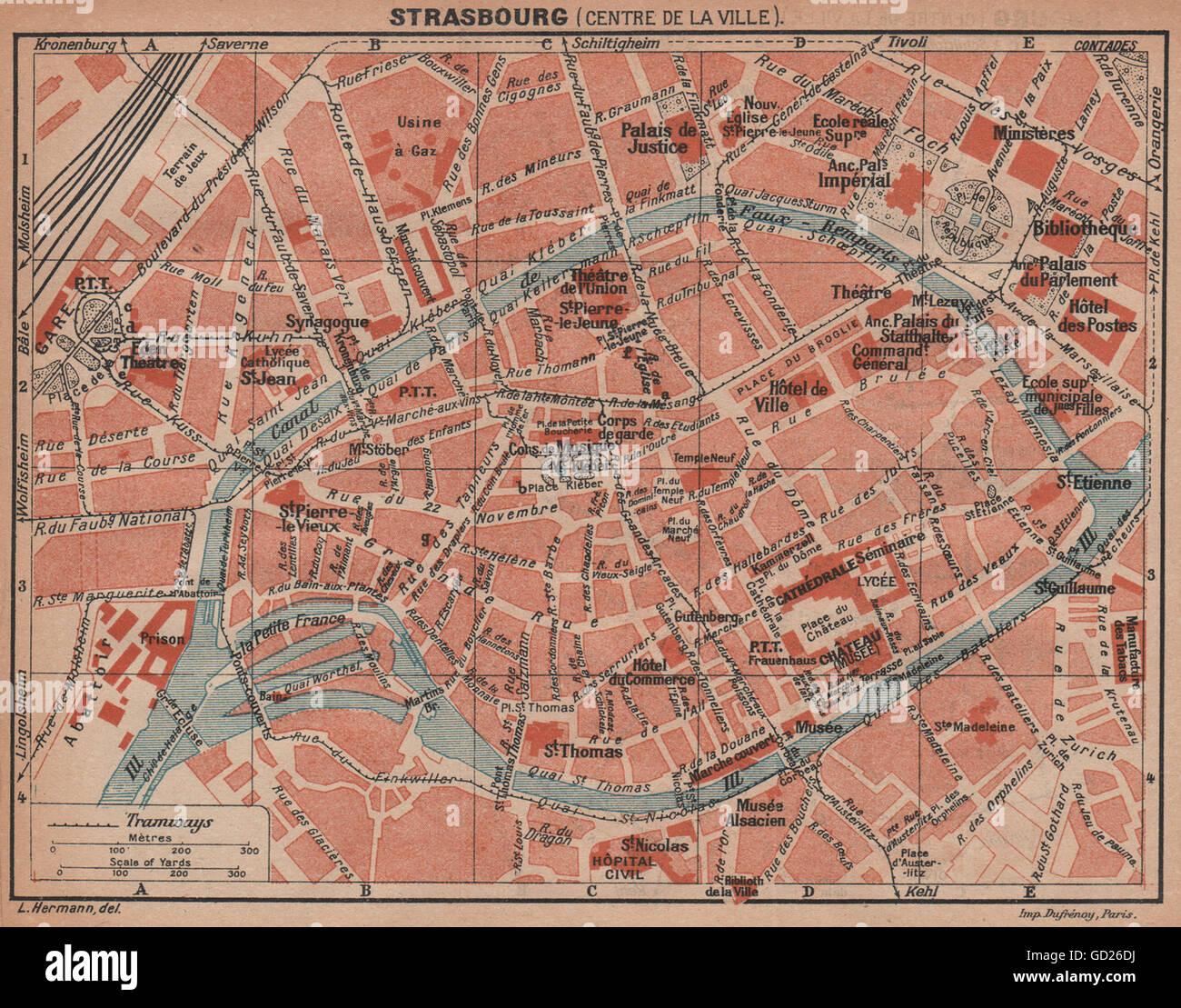 Straßburg STRASBOURG town city plan de la ville Bas-Rhin carte 1889 old map