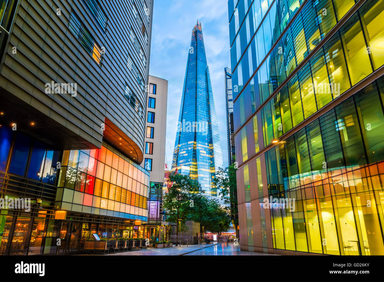 Street view of modern buildings in London, including The Shard - Stock Image