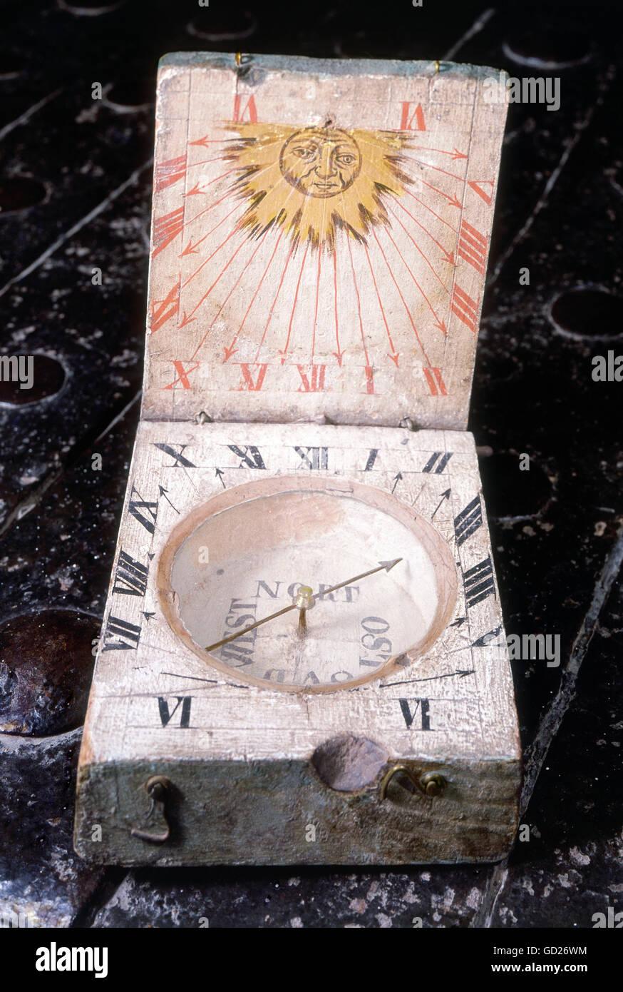clocks, sundials, compass, horizontal sundial, wood, Tyrol, late 16th century, Bregenz State Museum, historic, historical, Stock Photo