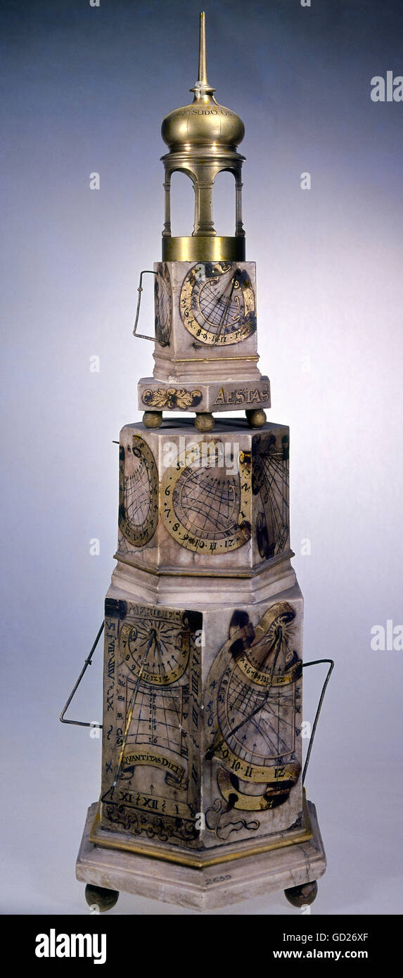 clocks, sundials, multiple faces sundial with vertical clock face, clockfaces for the 12 months and different pole - Stock Image