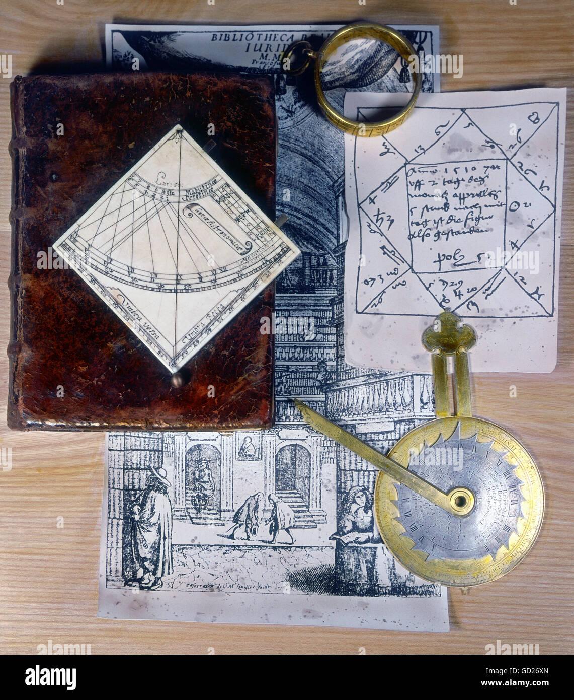 clocks, sundials, horizontal sundial, ring dial, night dial, engrave ivory plate, Augsburg, Germany, 17th century, - Stock Image