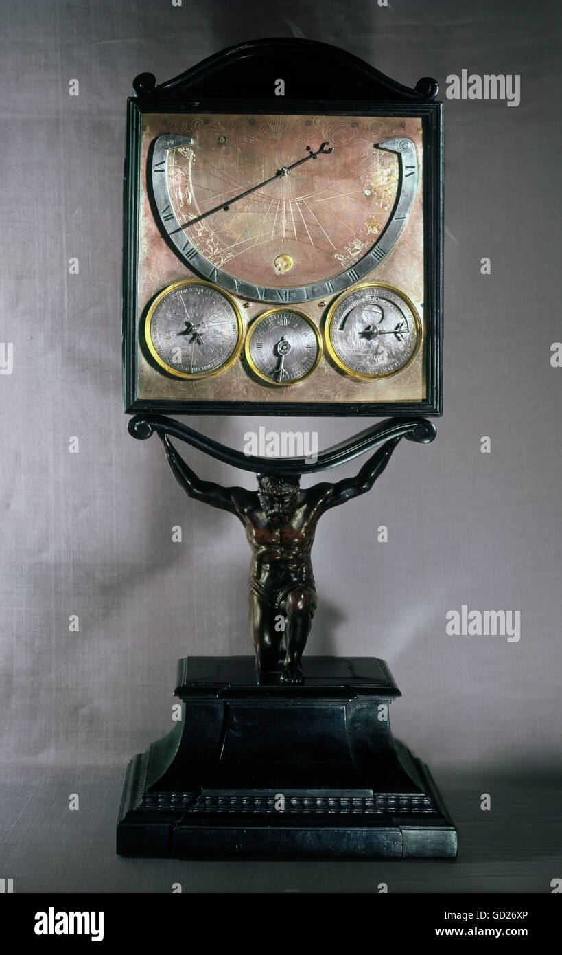 clocks, sundials, universal dial with sundial, carried by an atlas (as ancient king), Southern Germany, 17th century, Stock Photo